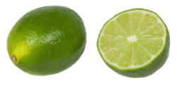 Lime - whole and cut in half